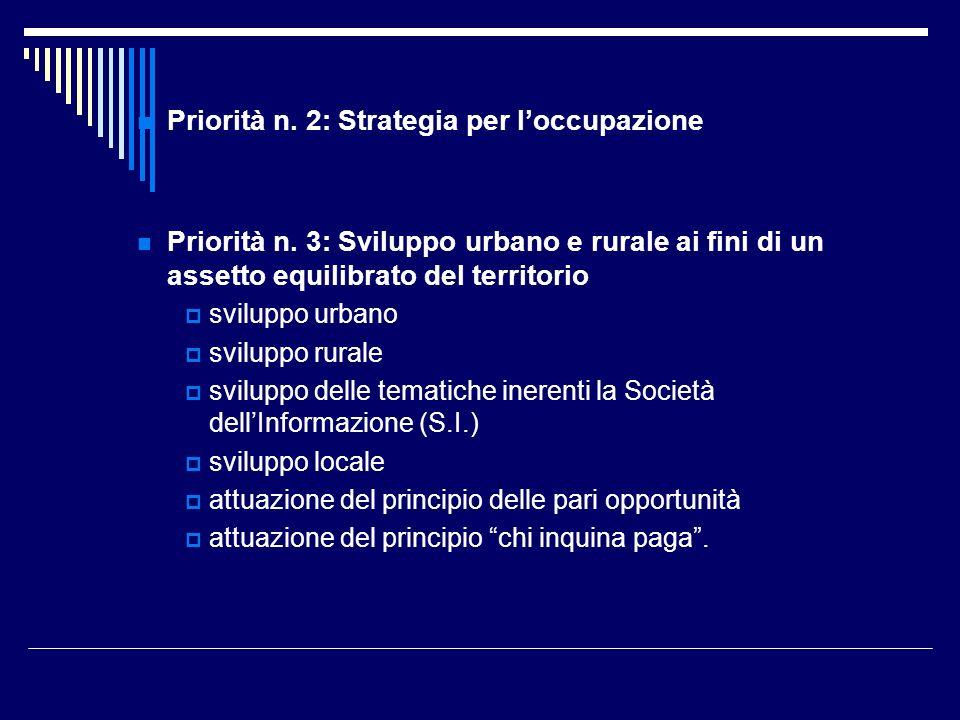 Priorità n. 2: Strategia per l'occupazione