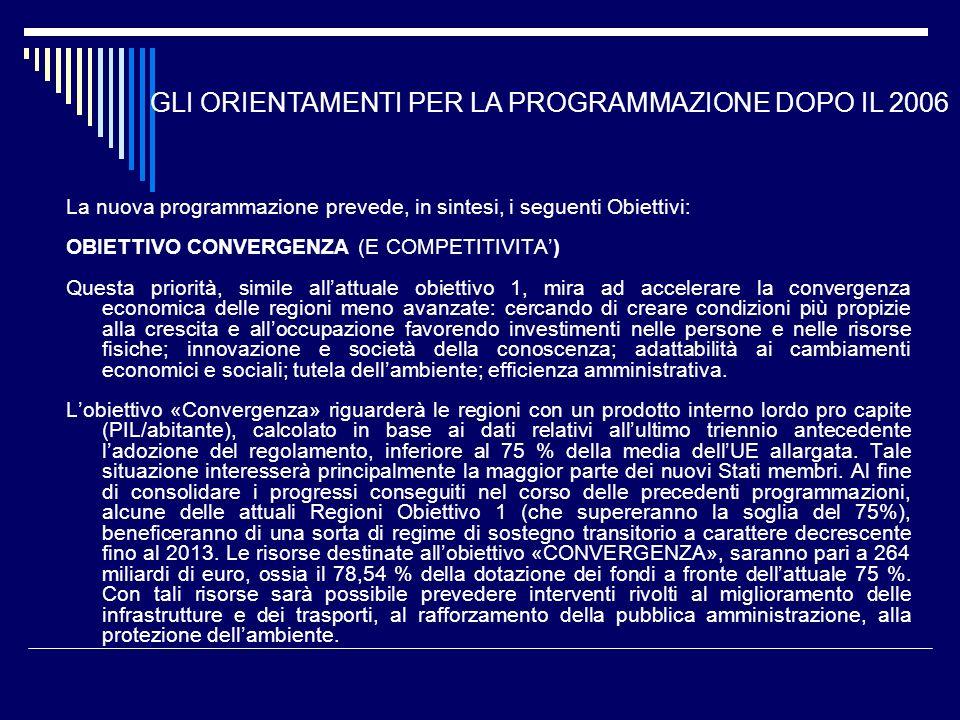GLI ORIENTAMENTI PER LA PROGRAMMAZIONE DOPO IL 2006