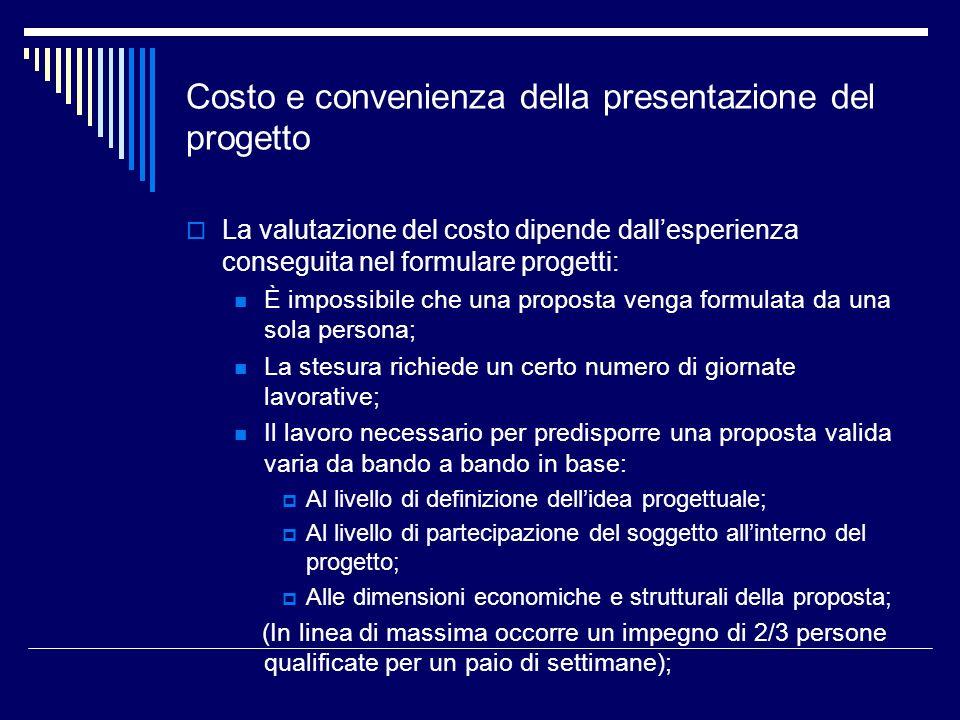 Costo e convenienza della presentazione del progetto