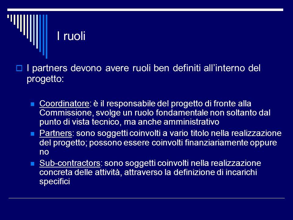 I ruoli I partners devono avere ruoli ben definiti all'interno del progetto:
