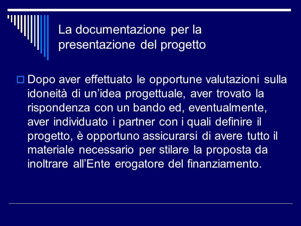 La documentazione per la presentazione del progetto