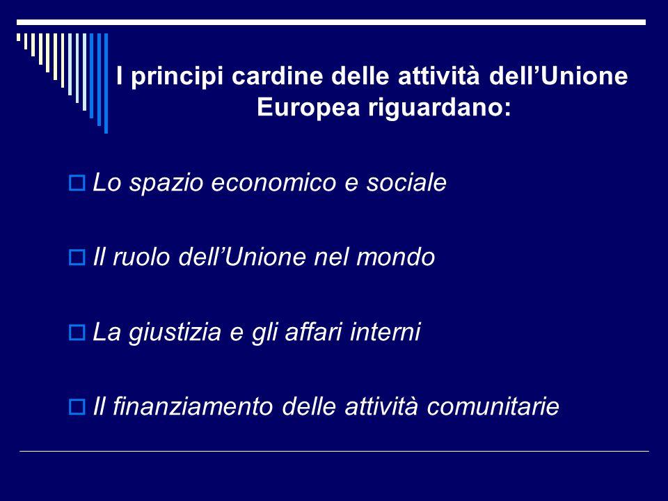 I principi cardine delle attività dell'Unione Europea riguardano: