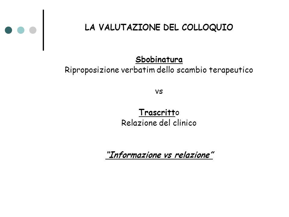 LA VALUTAZIONE DEL COLLOQUIO Informazione vs relazione