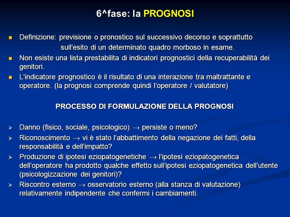 PROCESSO DI FORMULAZIONE DELLA PROGNOSI