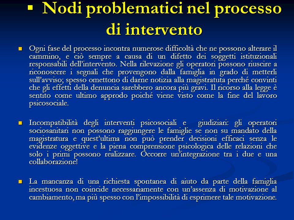 Nodi problematici nel processo di intervento