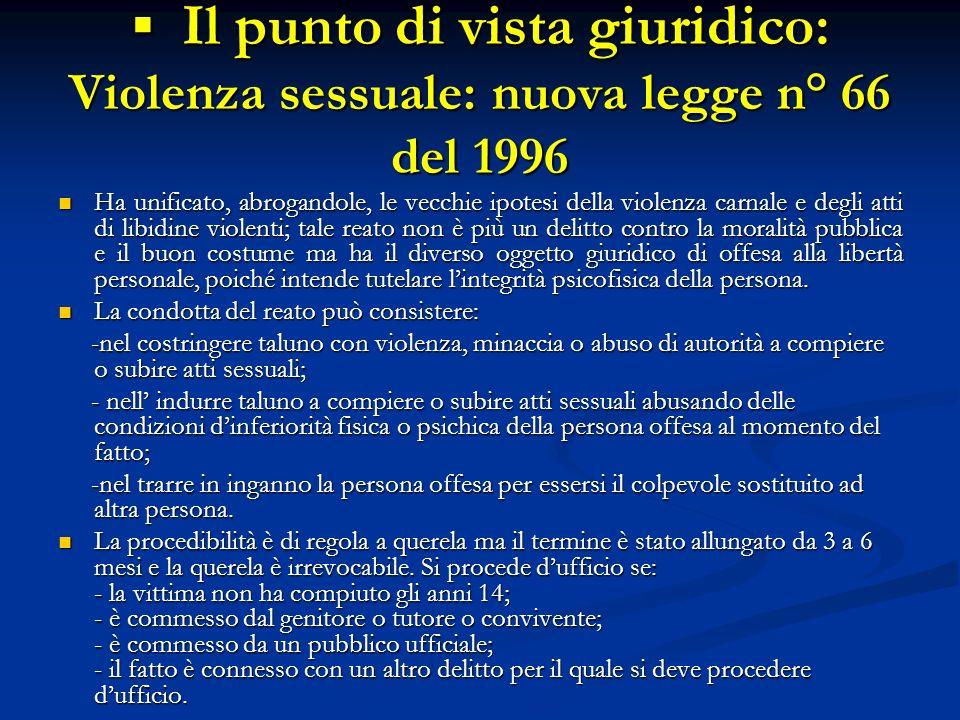 Il punto di vista giuridico: Violenza sessuale: nuova legge n° 66 del 1996