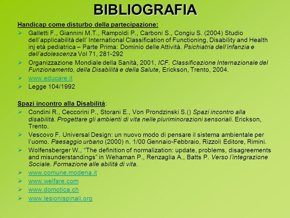 BIBLIOGRAFIA Handicap come disturbo della partecipazione: