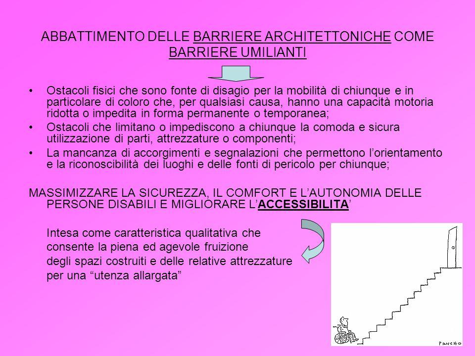 ABBATTIMENTO DELLE BARRIERE ARCHITETTONICHE COME BARRIERE UMILIANTI