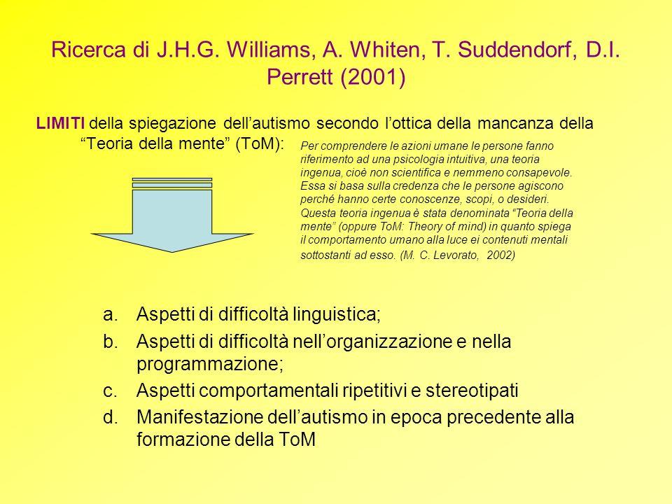 Ricerca di J. H. G. Williams, A. Whiten, T. Suddendorf, D. I