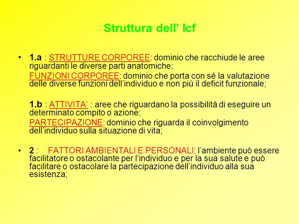 Struttura dell' Icf1.a : STRUTTURE CORPOREE: dominio che racchiude le aree riguardanti le diverse parti anatomiche;
