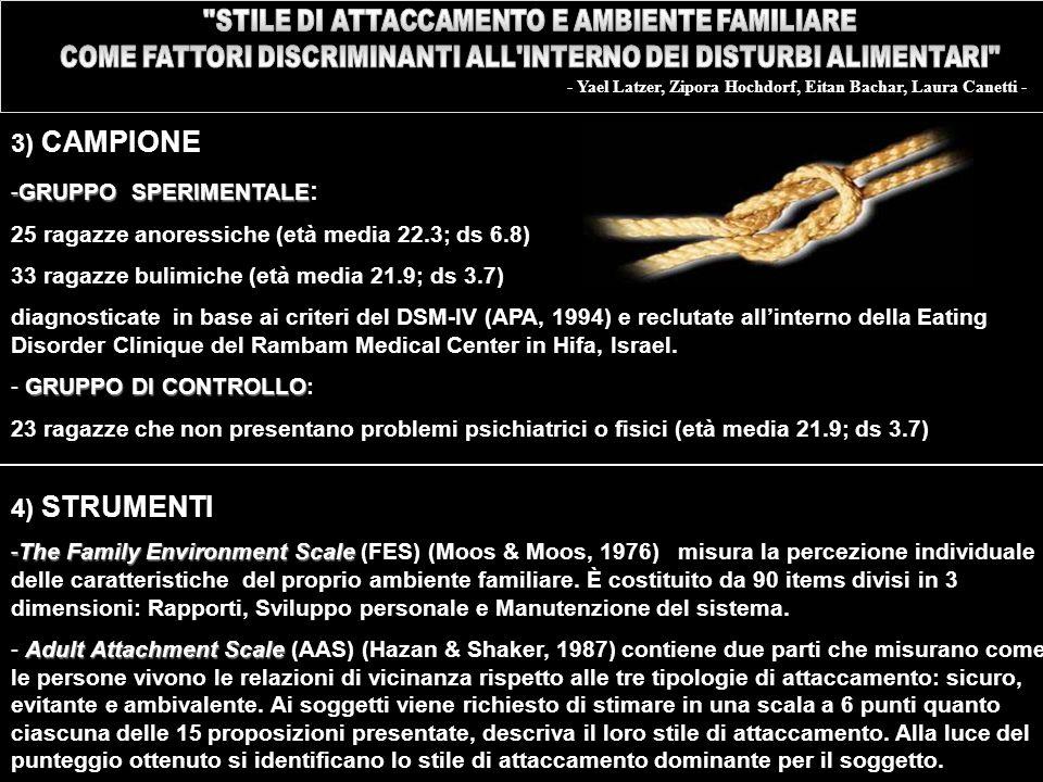 3) CAMPIONE 4) STRUMENTI GRUPPO SPERIMENTALE: