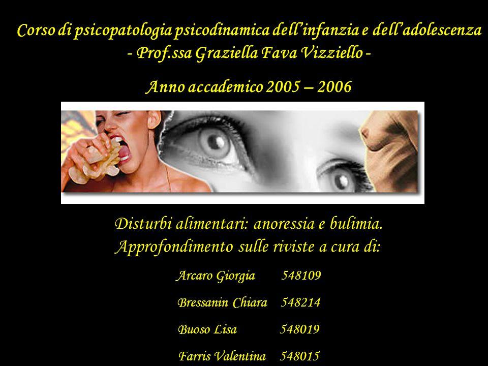 Corso di psicopatologia psicodinamica dell'infanzia e dell'adolescenza - Prof.ssa Graziella Fava Vizziello -