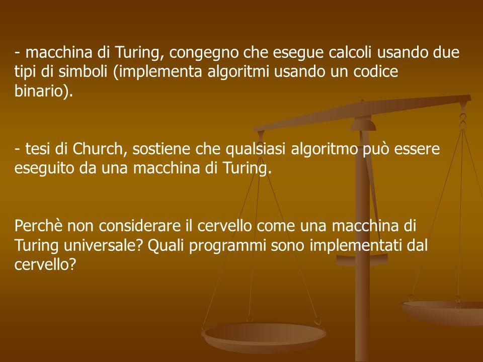 macchina di Turing, congegno che esegue calcoli usando due tipi di simboli (implementa algoritmi usando un codice binario).