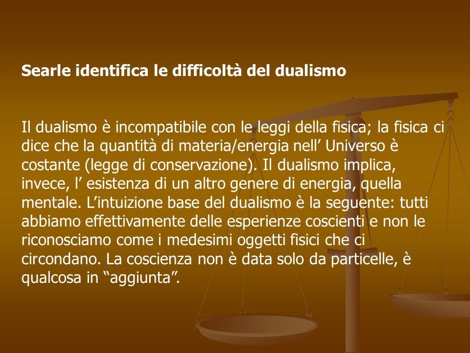 Searle identifica le difficoltà del dualismo