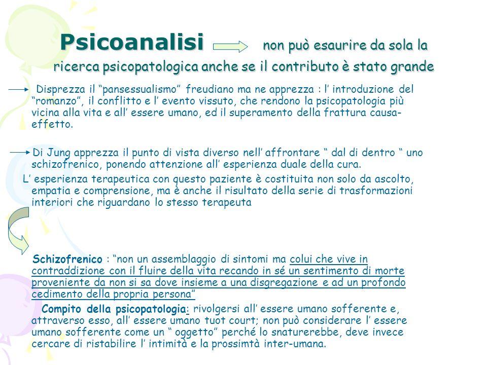 Psicoanalisi non può esaurire da sola la ricerca psicopatologica anche se il contributo è stato grande