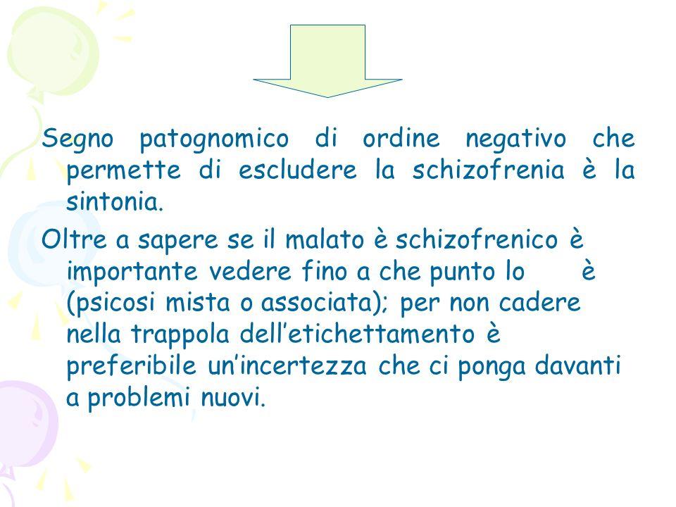 Segno patognomico di ordine negativo che permette di escludere la schizofrenia è la sintonia.