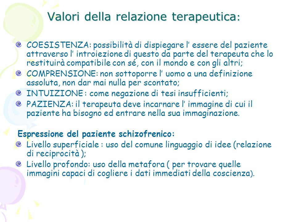Valori della relazione terapeutica: