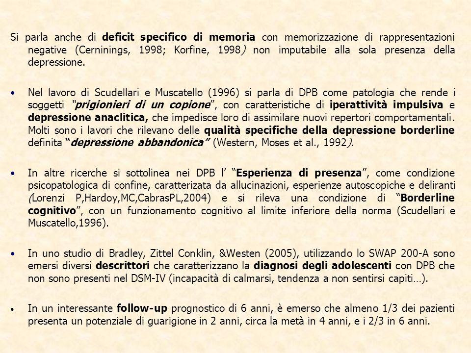 Si parla anche di deficit specifico di memoria con memorizzazione di rappresentazioni negative (Cerninings, 1998; Korfine, 1998) non imputabile alla sola presenza della depressione.