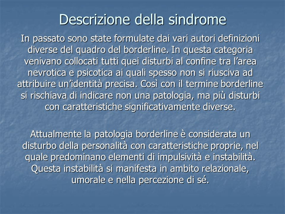 Descrizione della sindrome
