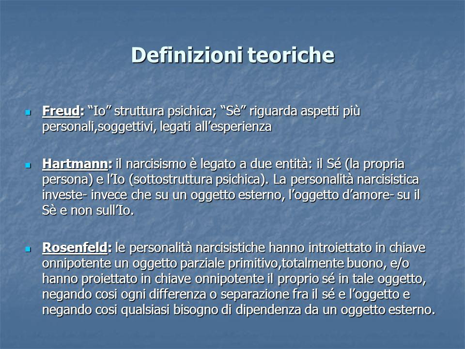 Definizioni teoricheFreud: Io struttura psichica; Sè riguarda aspetti più personali,soggettivi, legati all'esperienza.