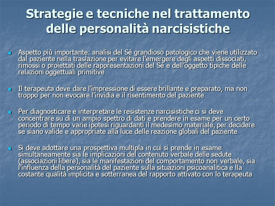 Strategie e tecniche nel trattamento delle personalità narcisistiche