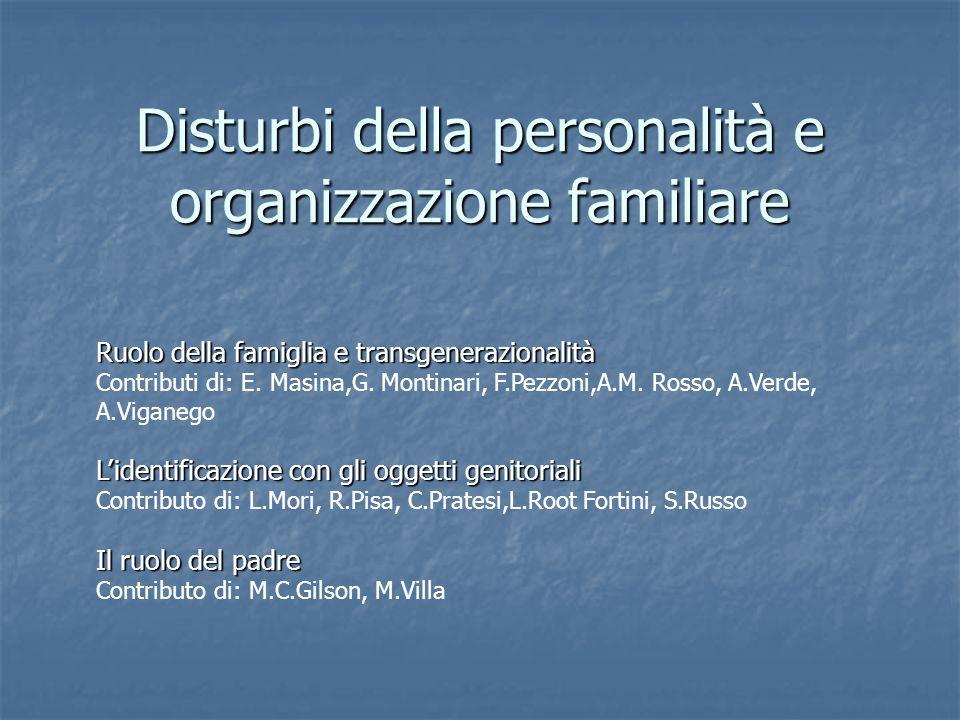 Disturbi della personalità e organizzazione familiare