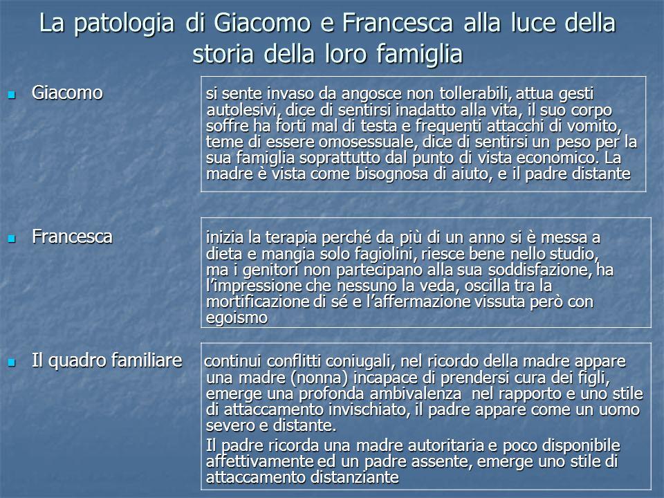 La patologia di Giacomo e Francesca alla luce della storia della loro famiglia