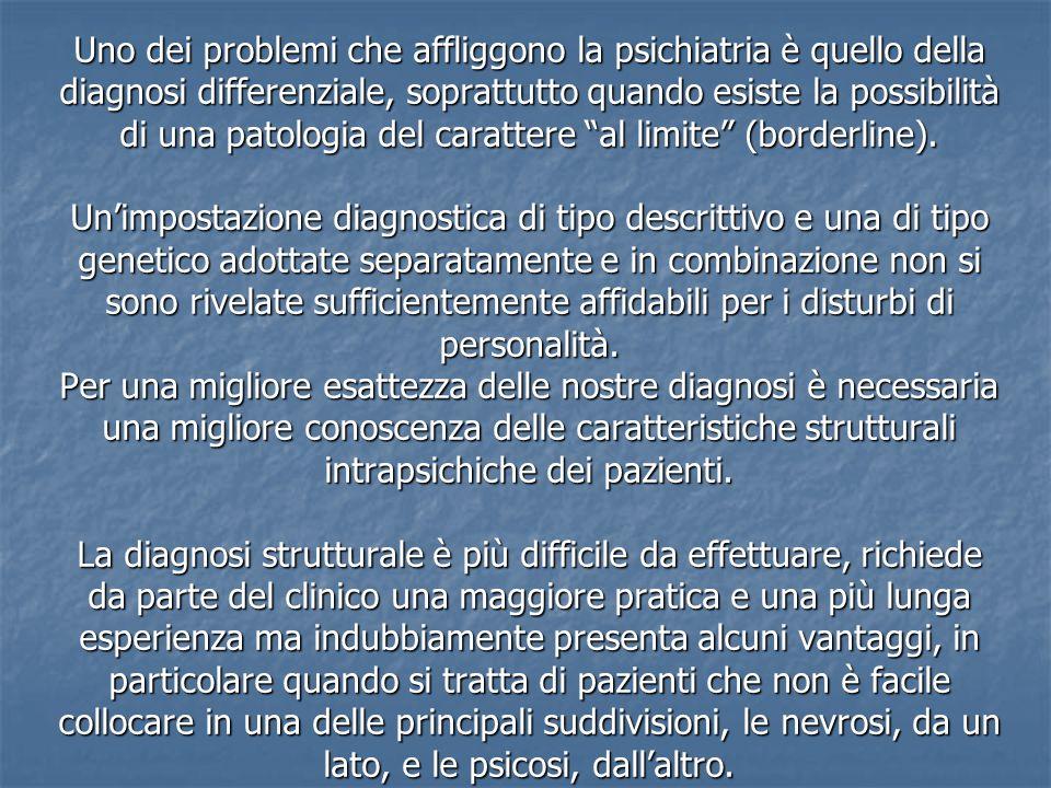Uno dei problemi che affliggono la psichiatria è quello della diagnosi differenziale, soprattutto quando esiste la possibilità di una patologia del carattere al limite (borderline).