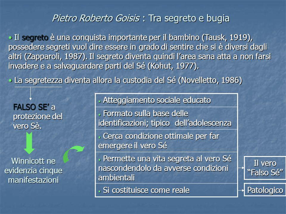 Pietro Roberto Goisis : Tra segreto e bugia