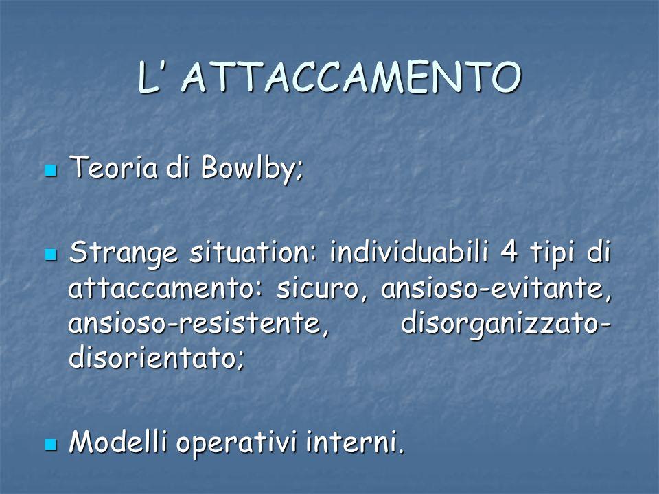 L' ATTACCAMENTO Teoria di Bowlby;