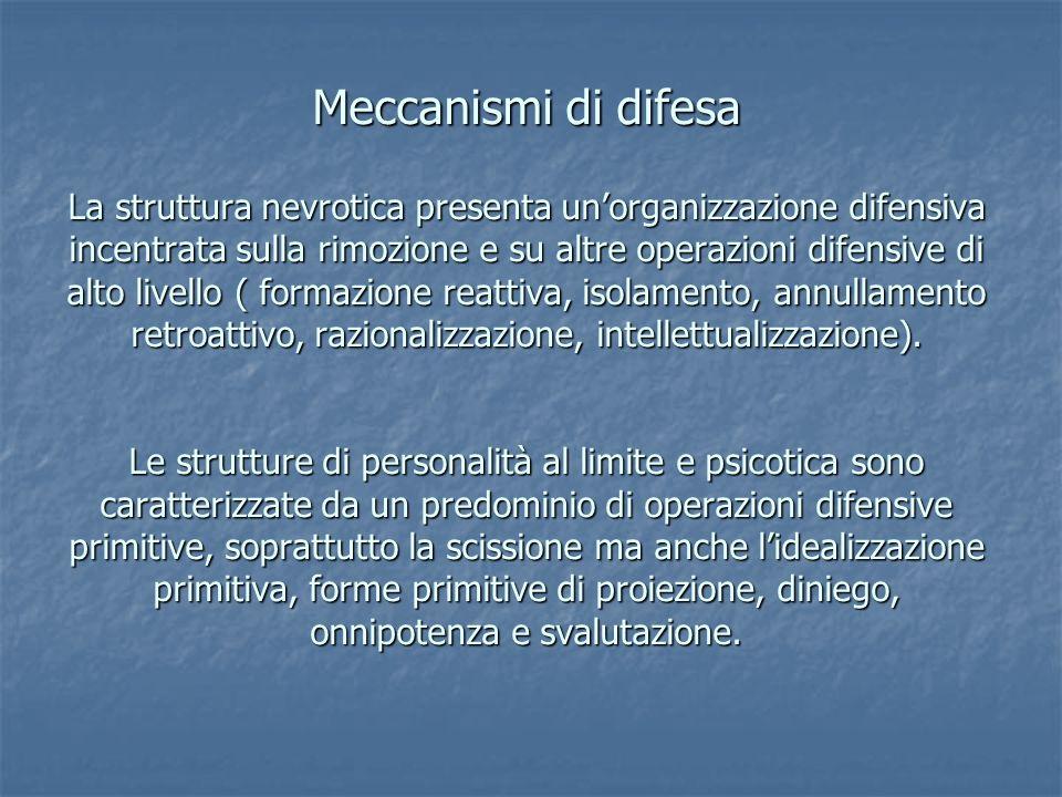Meccanismi di difesa La struttura nevrotica presenta un'organizzazione difensiva incentrata sulla rimozione e su altre operazioni difensive di alto livello ( formazione reattiva, isolamento, annullamento retroattivo, razionalizzazione, intellettualizzazione).