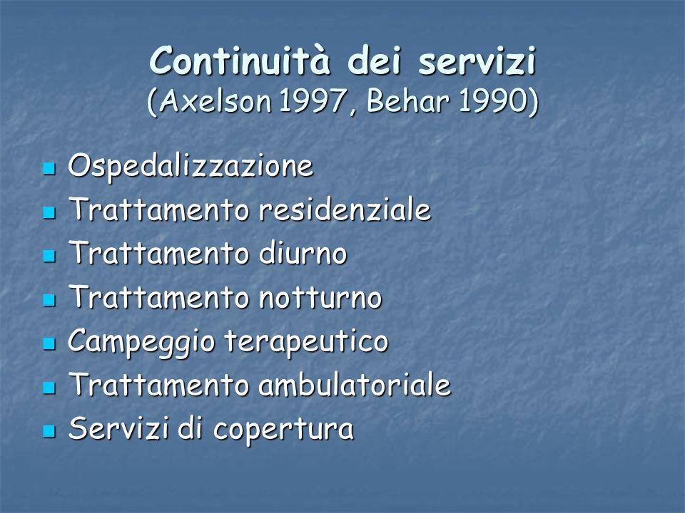 Continuità dei servizi (Axelson 1997, Behar 1990)