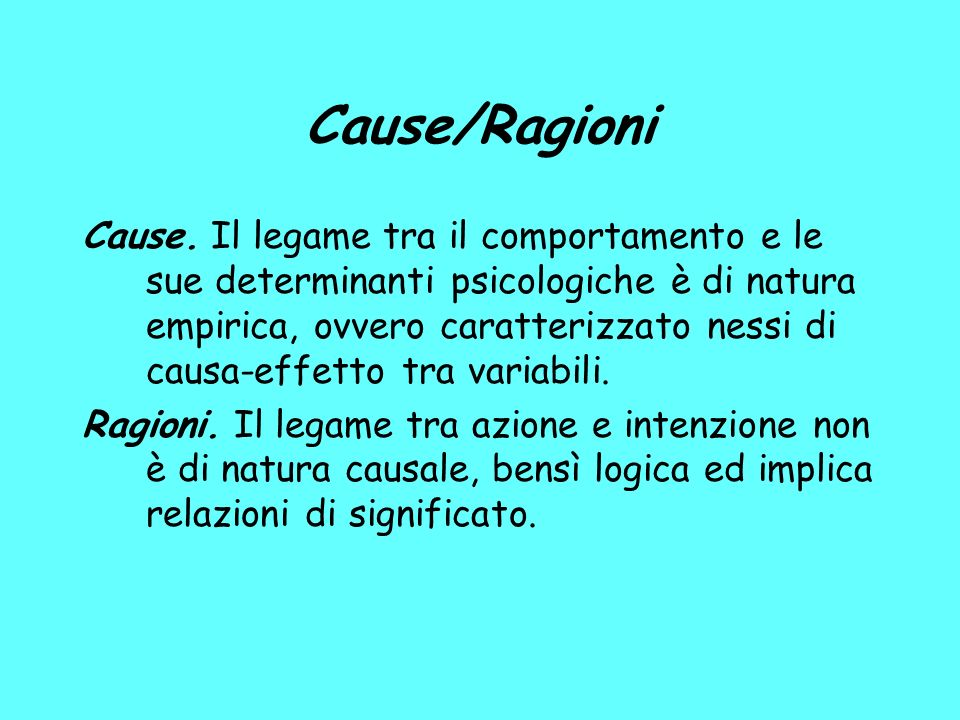 Cause/Ragioni