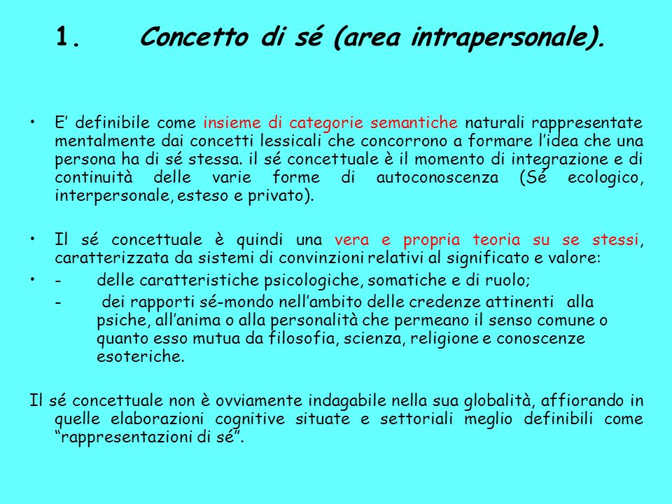 1. Concetto di sé (area intrapersonale).