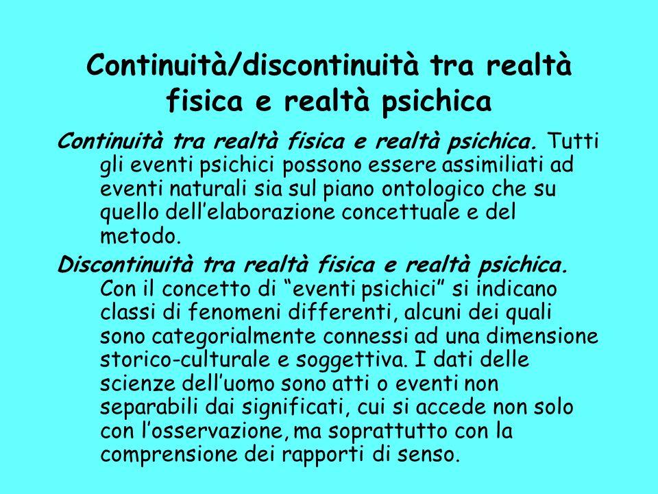 Continuità/discontinuità tra realtà fisica e realtà psichica