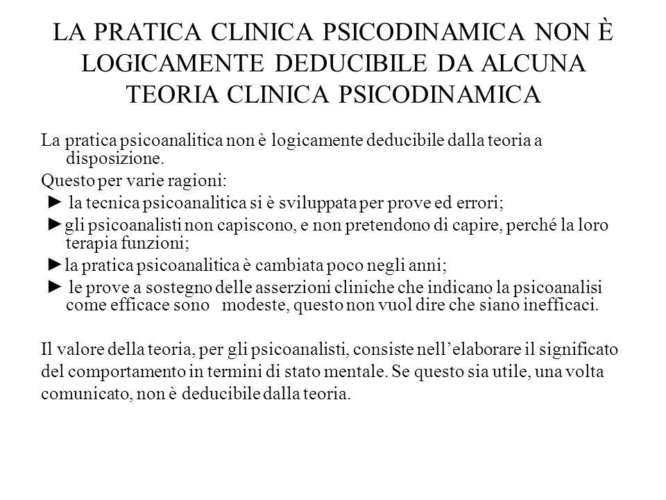 LA PRATICA CLINICA PSICODINAMICA NON È LOGICAMENTE DEDUCIBILE DA ALCUNA TEORIA CLINICA PSICODINAMICA