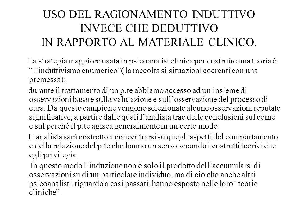 USO DEL RAGIONAMENTO INDUTTIVO INVECE CHE DEDUTTIVO IN RAPPORTO AL MATERIALE CLINICO.