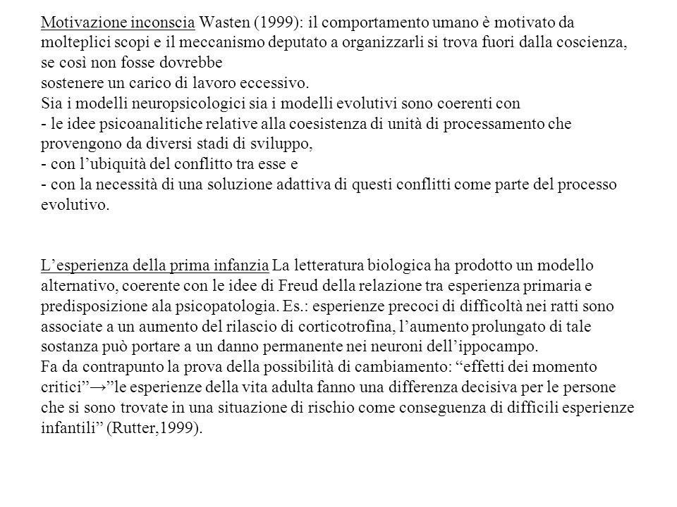 Motivazione inconscia Wasten (1999): il comportamento umano è motivato da molteplici scopi e il meccanismo deputato a organizzarli si trova fuori dalla coscienza, se così non fosse dovrebbe sostenere un carico di lavoro eccessivo.