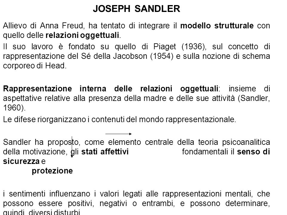 JOSEPH SANDLERAllievo di Anna Freud, ha tentato di integrare il modello strutturale con quello delle relazioni oggettuali.