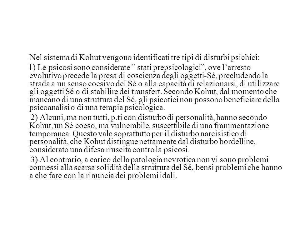 Nel sistema di Kohut vengono identificati tre tipi di disturbi psichici: