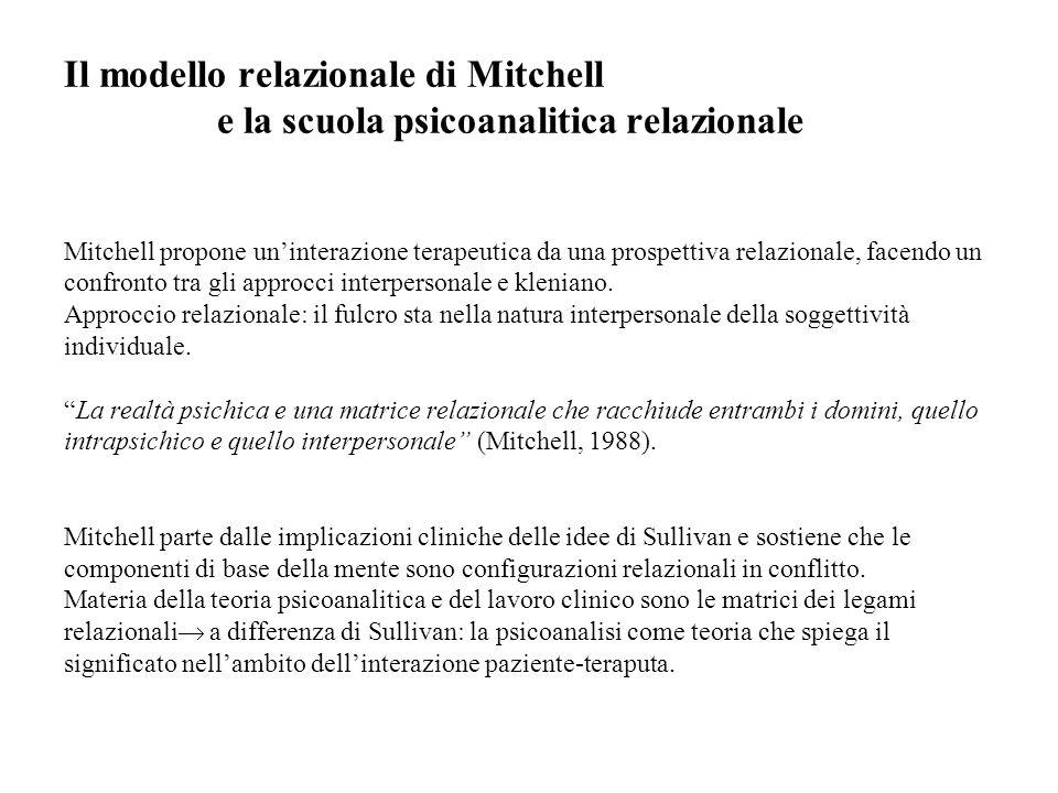 Il modello relazionale di Mitchell e la scuola psicoanalitica relazionale Mitchell propone un'interazione terapeutica da una prospettiva relazionale, facendo un confronto tra gli approcci interpersonale e kleniano.