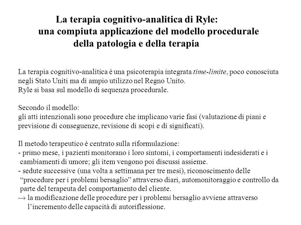 La terapia cognitivo-analitica di Ryle: una compiuta applicazione del modello procedurale della patologia e della terapia La terapia cognitivo-analitica è una psicoterapia integrata time-limite, poco conosciuta negli Stato Uniti ma di ampio utilizzo nel Regno Unito.