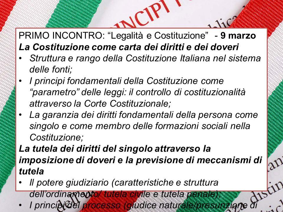 PRIMO INCONTRO: Legalità e Costituzione - 9 marzo