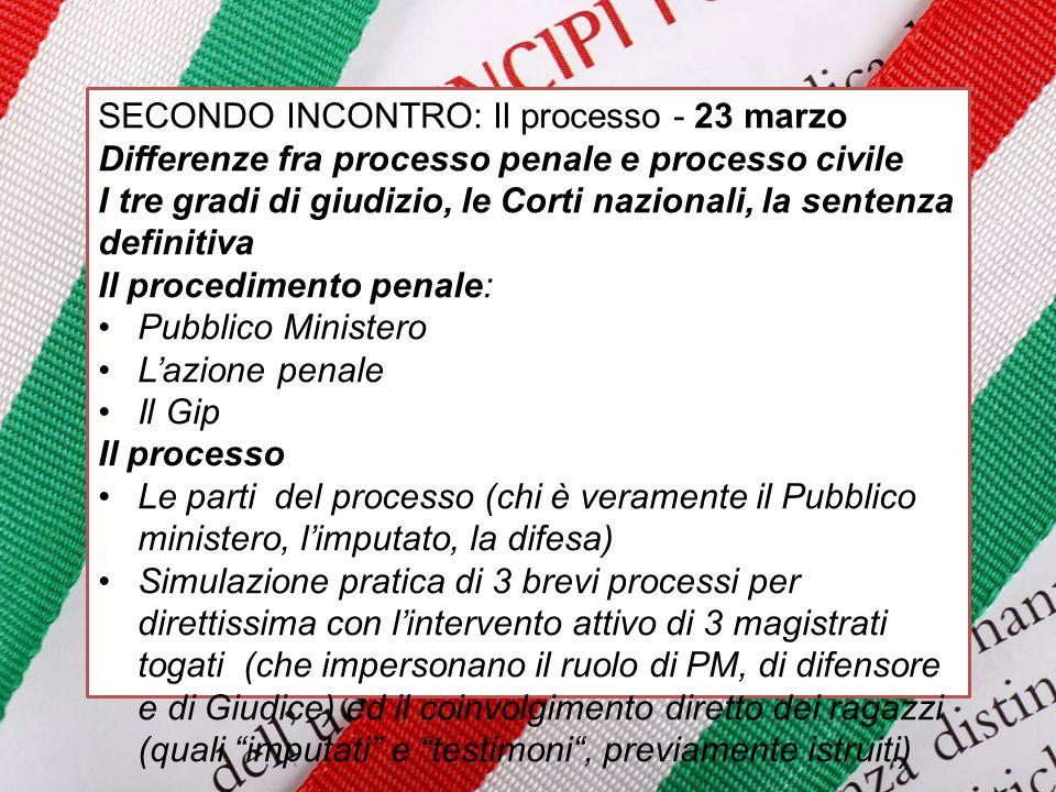 SECONDO INCONTRO: Il processo - 23 marzo