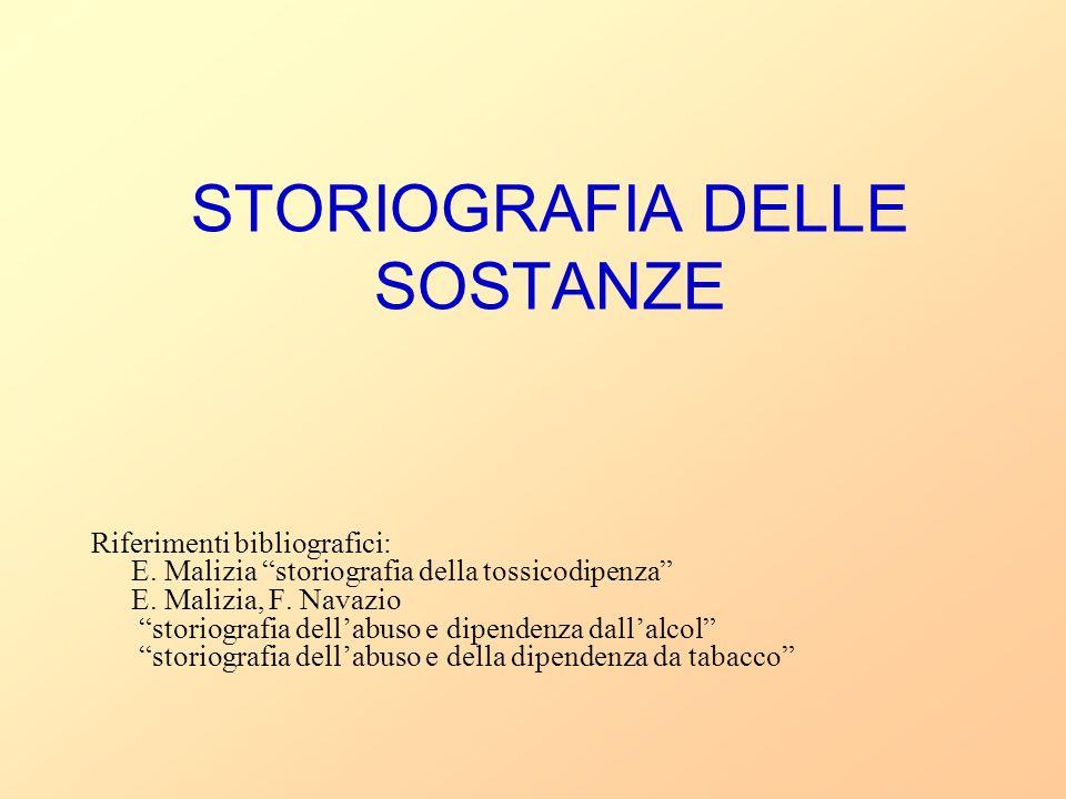 STORIOGRAFIA DELLE SOSTANZE