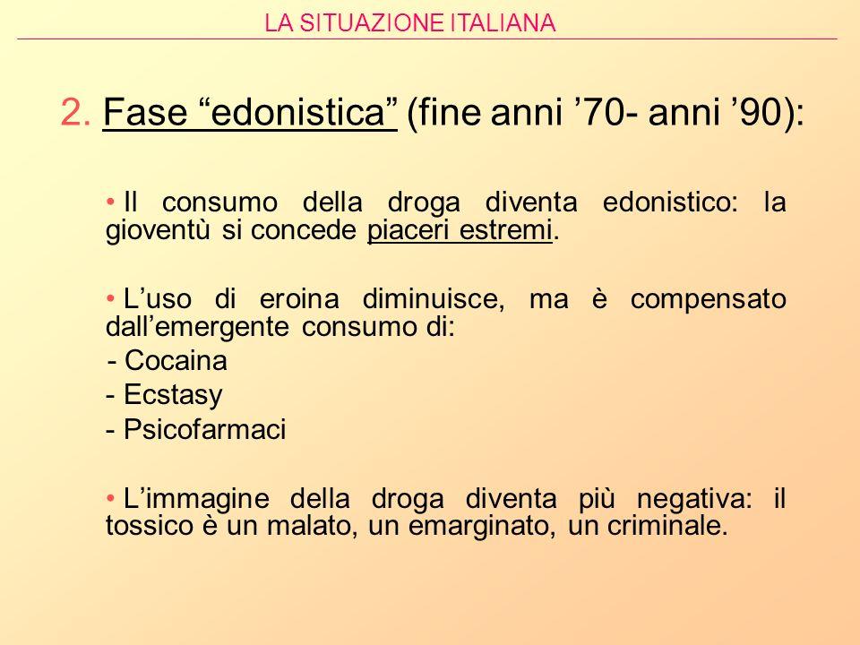 2. Fase edonistica (fine anni '70- anni '90):
