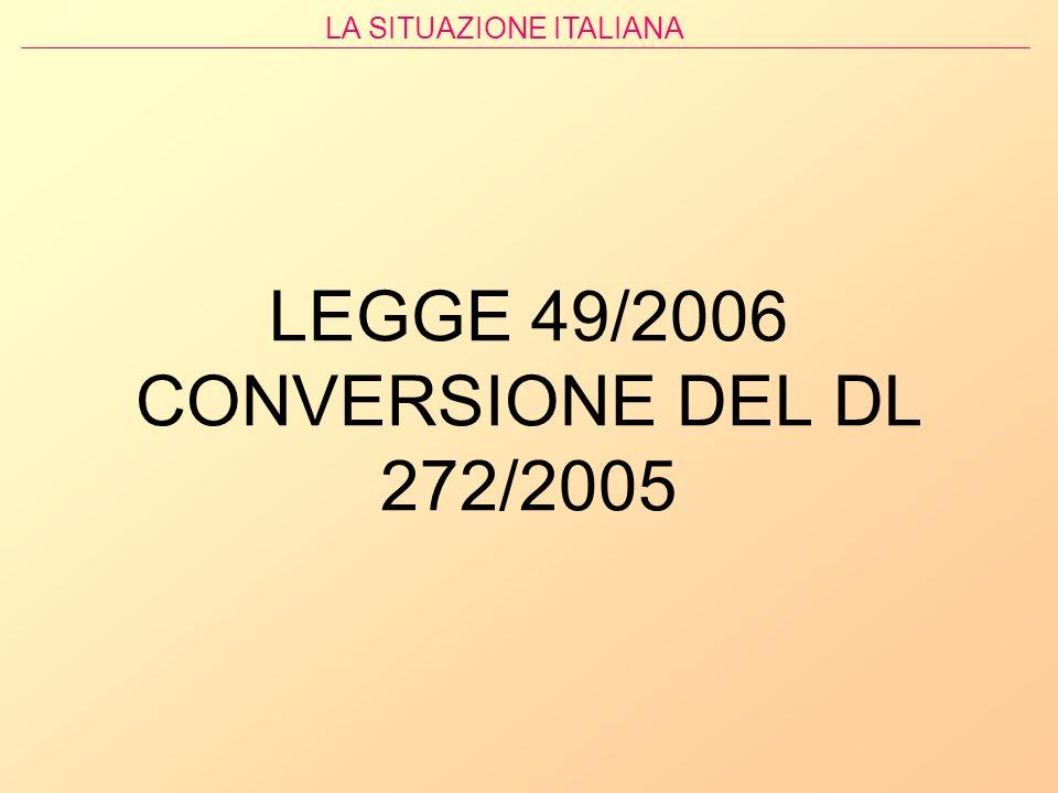 LEGGE 49/2006 CONVERSIONE DEL DL 272/2005