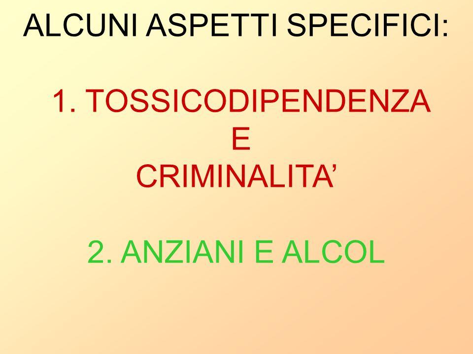 ALCUNI ASPETTI SPECIFICI: 1. TOSSICODIPENDENZA E CRIMINALITA'
