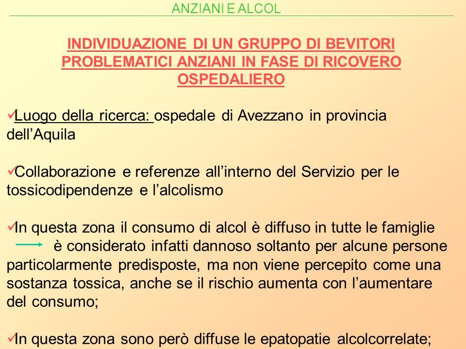 Luogo della ricerca: ospedale di Avezzano in provincia dell'Aquila