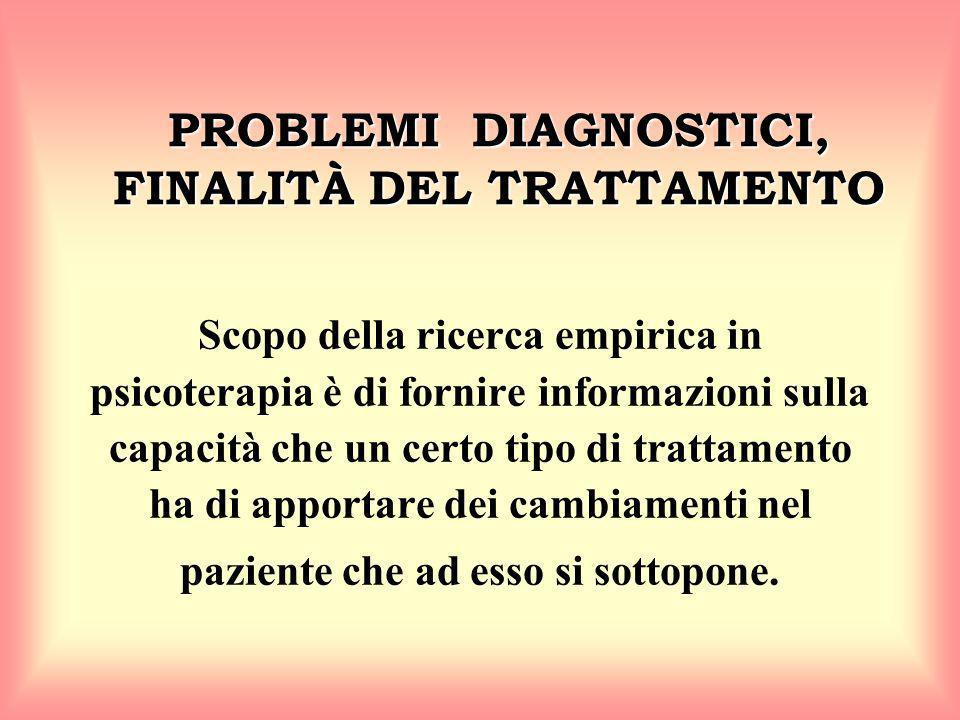 PROBLEMI DIAGNOSTICI, FINALITÀ DEL TRATTAMENTO